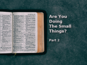 Are You Doing The Small Things? Part 2